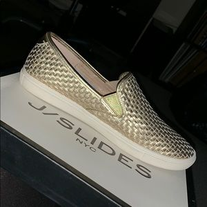 J/Slides Platino Leather slip on slides